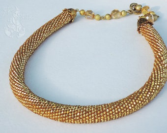 Statement necklace Beaded crochet rope Shiny Gold Necklace for her Xmas gift Elegant Beadwork Gift for her /for mother Seed bead necklace