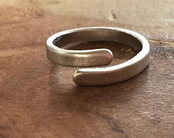 Silver wrap ring skinny ring adjustable ring thumb ring anniversary gift custom ring friend birthday best friend gift copper ring word rings