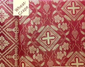"""Liturgical Vestment Rayon EXTRA WIDE  79"""" (2m)  Wide Wheat Grapevine Geometric Patterns"""