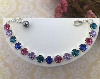 Swarovski crystal bracelet, Multi Color Bracelet, Crystal bracelet, Birthday Bracelet, Wedding Jewelry, Swarovski Crystal Chatons