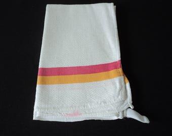 French vintage damask linen tea towel / torchon (05152)
