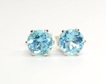 Sky Blue Topaz earrings;Gemstone earrings;Blue Topaz;Stud earrings;Blue earrings;Sterling silver earrings;Post earrings;November birthstone