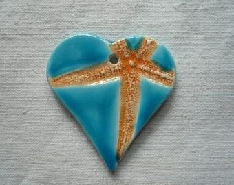 ciondolo in ceramica con stella marina - ciondolo stella marina - stella marina in ceramica - ciondolo ceramica - ceramica - stella marina