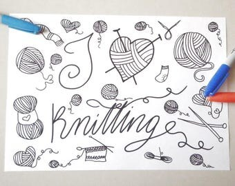 i love knitting coloring book to knit yarn instant download craft colouring to knit meditation zen - Coloring Book Yarns