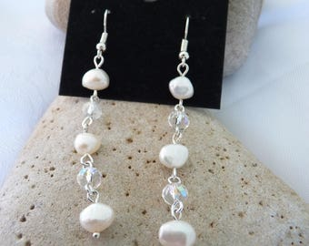 Long Freshwater Pearl & Crystal Earrings