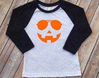 Boy Girl Halloween Shirt   Cool pumpkin shirt   Kids Fall Halloween Shirt   Pumpkin Raglan   Pumpkin patch   Toddler shirt
