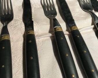 Bakelite & Brass stud flatware