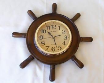 Vintage Ship's Wheel Wall Clock, Telesonic