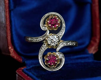 Belle Epoque Antique Diamond Ruby Scroll Ring