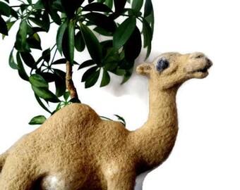 Needle felted animal Felt camel table decor Animal lover gift Safari nursery art Custom felt animal portrait