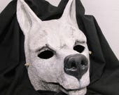 Reserved listing, custom made, Ghost wolf, Masquerade mask, cosplay, adult mask, Adult costume, doberman, dog mask, Doberman