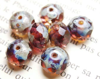 10 beads Czech glass, 6 x 8 mm fuchsia R810 picasso finish