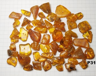 P31 / set of amber beads natural honey color 20g