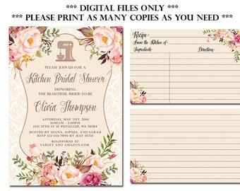 Kitchen Bridal Shower Invitation with Recipe Card, Stock the Kitchen Bridal Shower Invitation, DIY Printable