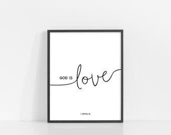 "God Is Love Svg - 1 John 4:8 - Bible Verse Wall Art - Black and White Print - 8x10"" Digital Print - Printable Art - INSTANT DOWNLOAD"