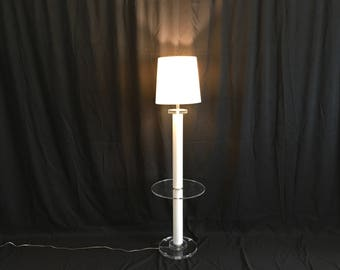 Vintage Modern Hollywood Regency All Lucite Acrylic Lamp Table