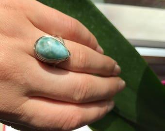 Natural Larimar Ring . Teardrop. 7 US