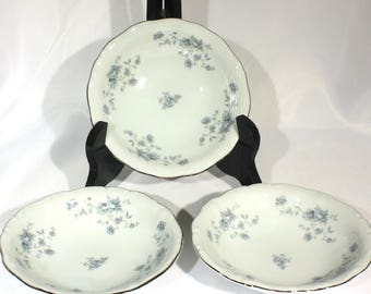 Set of 3 Blue Garland Berry Bowls by Johann Haviland, Vintage Blue Flower with Silver Trim Bavarian China