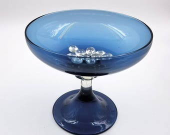Large Blue Glass Pedestal Compote / Art Glass