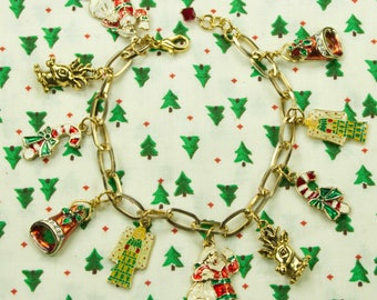 Gold Multi Colored Christmas Charm Bracelet