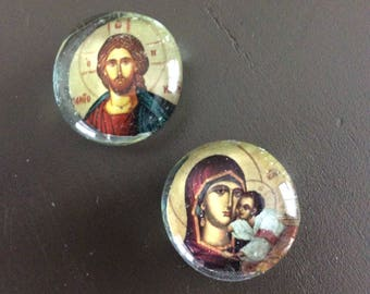Greek Orthodox Icon Magnets, Set of two