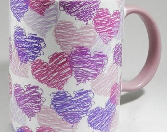 Scribble Hearts Mug in Pinks and Purple with pink inner and handle