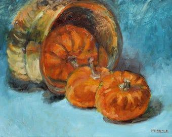 Brass Bowl with Pumpkins, still life, orange, blue, original, oil, painting, 12 x 16