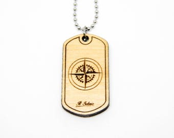 Wood WIND ROSE compass cardinal points DOGTAG wanderlust travel