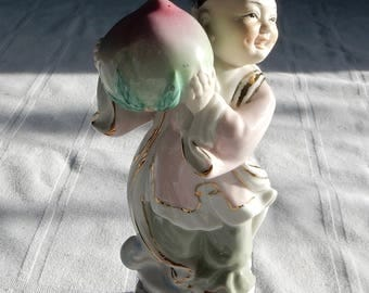Chinese Porcelain Figurine - Boy Holding a Peach - Jingdezhen Bisque Porcelain Statue - Longevity Celebration Porcelain Statue from China