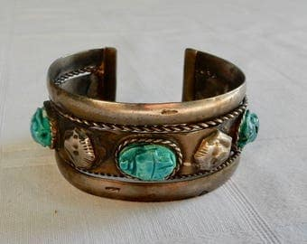 Faience Scarab and Silver Plated Sphinx Cuff Bracelet - Egyptian Revival Bracelet - Clay Scarabs and Silver Plated Brass - Egyptian Scarabs