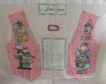Kittens vest panel or use for appliques HI-fashions fabric Alma Lynne Designs from 1996 VTG out of print