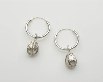 Silver earrings, silver dangle earrings, seed pod earrings