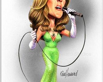 Don Howard's Depiction-Celine Dion Celebrity Caricature