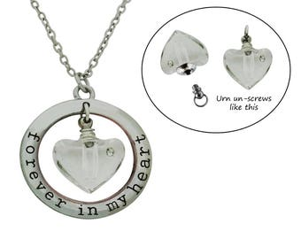 Cremation Urn Necklace Memorial Urn Pendant Memorial Jewelry with Mini Heart Crystal Vial Urn Ash Holder Pet Loss Urn Includes Funnel
