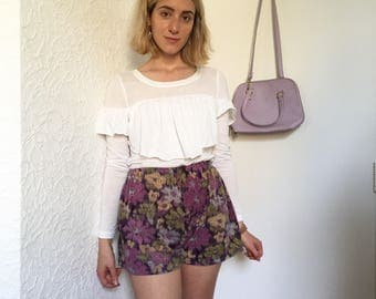 Handmade Purple, Yellow & Green Abstract Floral Summer Shorts // Size S/M