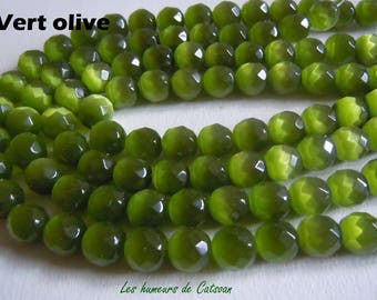 10 round beads faceted glass 10mm cat's eye has various colors quality grade