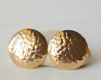 Gold Tone Earrings Vintage Round Modernist Stud Earrings, Elegant Gold  Pierced, Vintage Convex Earrings from 70's Retro Gold Tone Jewelry