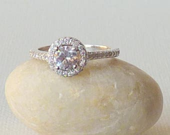 Vintage Sterling Silver Cubic Zirconia Ring Cocktail Ring Engagement Ring,Dainty Ring Size 5 MINT Multi-Stone Girls Ring Minimalist Sterling