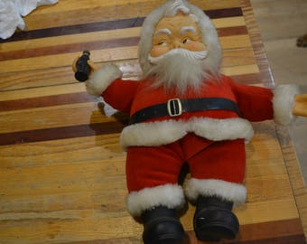 Vintage Santa Plush Toy with Coca-Cola Bottle