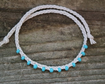 Fringe Beaded Braided Hemp Bracelet - Tie On