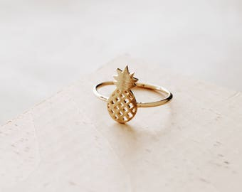R1057 - New Sterling Silver Gold Matte Pineapple Fruit Ring