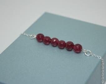 Ruby Bar Bracelet, Gemstone Jewelry, Birthstone Bracelet, July Birthstone, Sterling Silver Bracelet