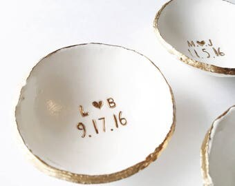Engagement Gift / Ring Dish / Jewelry Dish / Date and Initials / Wedding Gift / Personalized Gift / Gift for Her / Anniversary