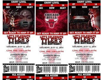 12 PER PACK Birthday Party Invitations Chicago Bulls Birthday Ticket Invitation NBA Basketball Weddings Baby Showers Bar Mitzvahs Jordan