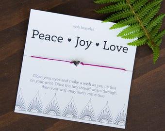 Peace Joy Love Wish Bracelet, Friendship Bracelet, Teacher Gift, Easy Coworker Gift, Gifts under 10, Gift for Friend, Gift for coworker