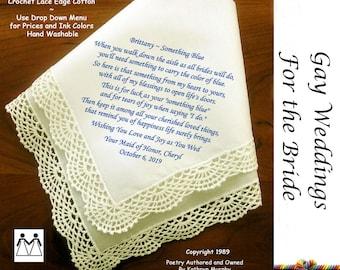 Gay Wedding  Handkerchief Gift ~ Something Blue for the Bride L503  Title, Sign & Date Free! Printed Wedding Hankie Bride Hankie
