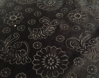 Beautiful Black Floral Embossed Fabric Des.5  Sold By the Yard