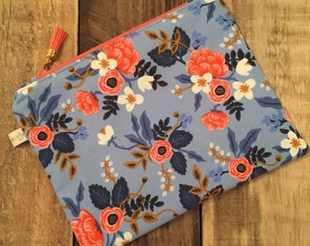 Rifle Paper Co Fabric Makeup Bag | Rifle Paper Company Zippered Pouch | Floral Clutch | Cosmetic Bag | Travel Case | Pretty things