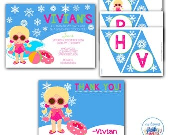 Winter Pool Party Package, Pool Party Package, Winter Pool Party, Winter Pool Party Birthday, Winter Pool Party Invitation