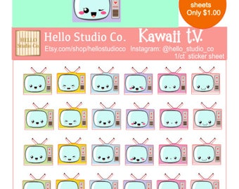 Kawaii TV planner stickers